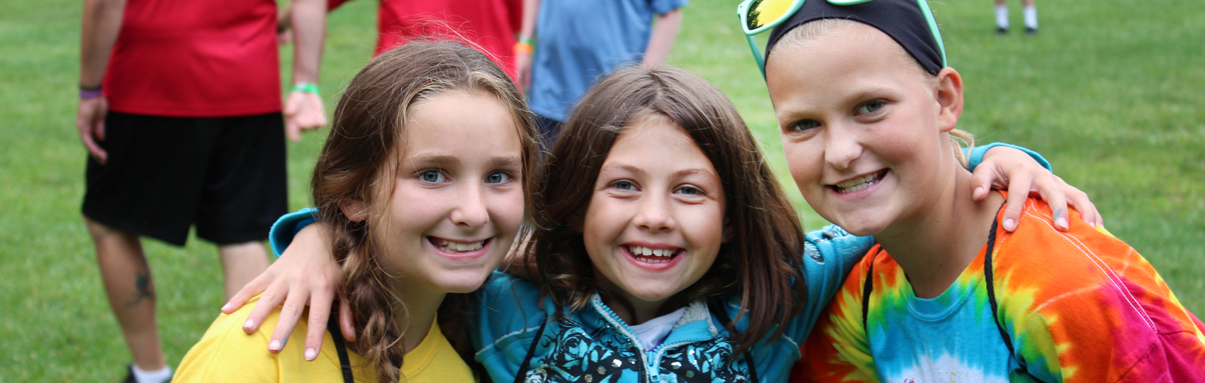 Trio of Happy Girl Campers at Camp Can Do